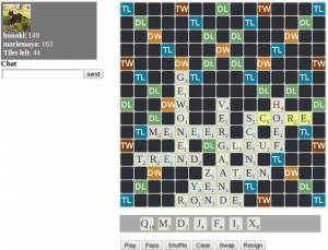 An example game on Wordfeud for PC