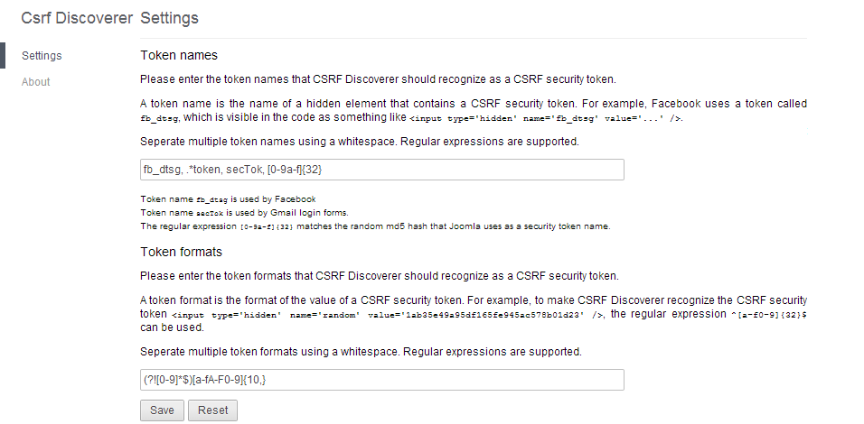The CSRF Discoverer settings page.